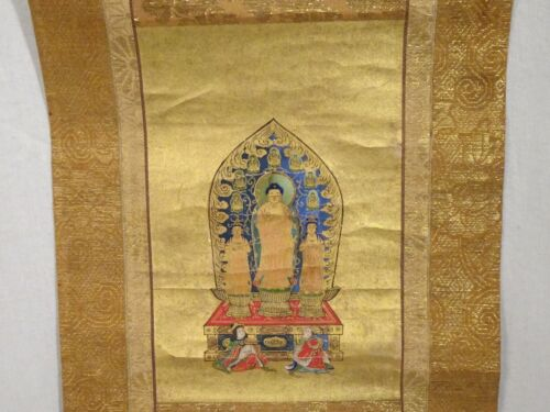 Antique Japanese Scroll Amida Nyorai Buddha  -  57932
