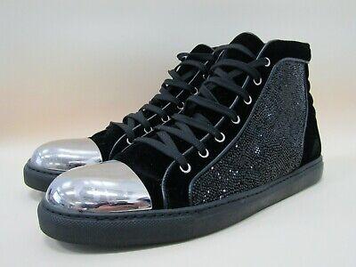 Louis Leeman Men's Black Velvet Crystal Embellished High Top Sneakers Size 10