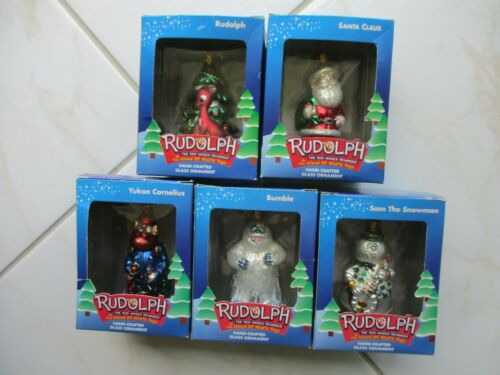 Set of 5 Brass Key Rudolph & The Island Of Misfit Toys Glass Ornaments (2002)