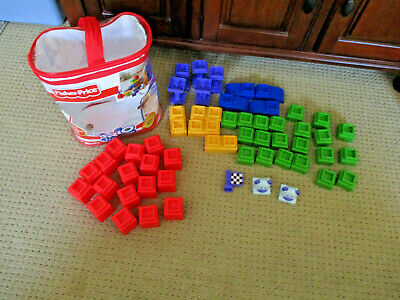 Fisher Price TRIO Building  Blocks Pieces Good Color Assortment. 55 Pieces