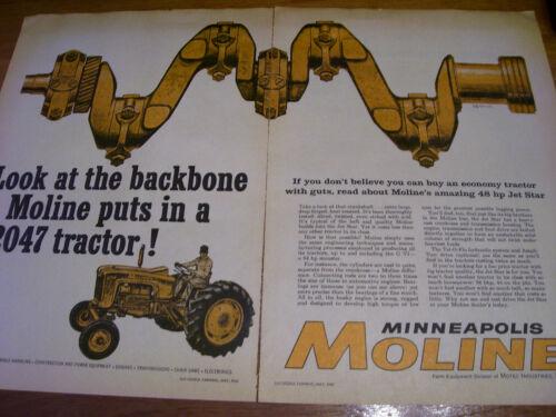 VINTAGE  MINNEAPOLIS MOLINE ADVERTISING  -48 HP JET STAR TRACTORS - 1961