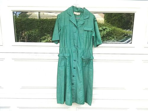 Vintage GIRL SCOUTS Official Uniform Dress Green Short Sleeve Buttons Pleated