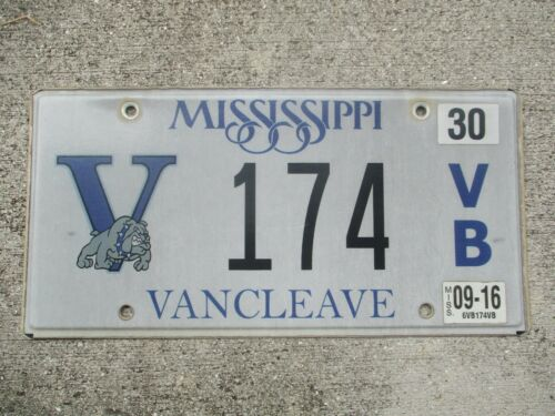 Mississippi 2016 Vancleave  license plate  #    174