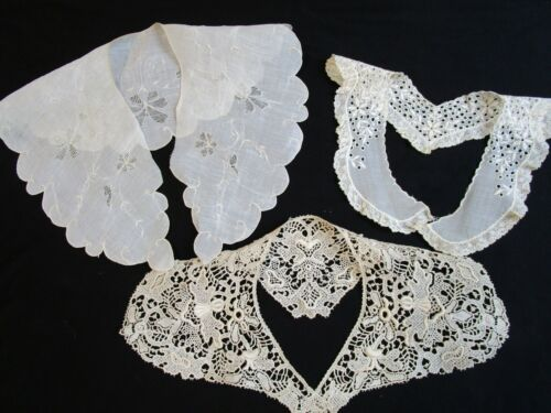 3 Antique Collars, Swiss Embroidery w French Val, Schiffli Embroidery, White Wrk