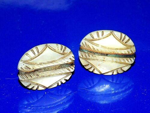 Beautiful Pair Vintage or Antique Carved Shell Shirt Stud Buttons or Cufflinks
