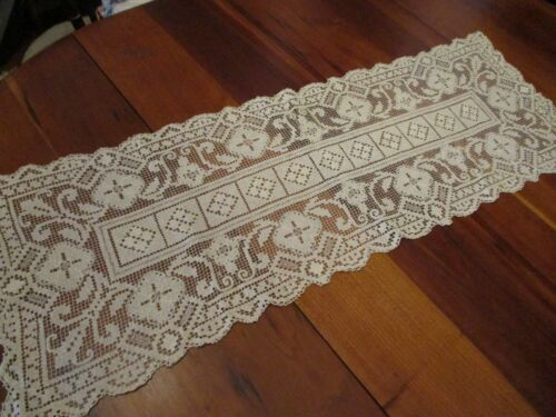 "Vintage Stunning Ivory Filet lace table runner, dresser scarf,  40 x 15"""