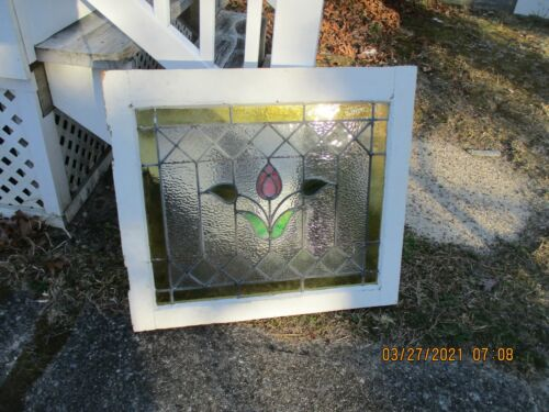 ANTIQUE VINTAGE STAINED GLASS WINDOW AMBER TRIM PINK FLOWER WE SHIP!!!!