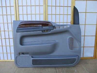 99-07 Ford F250 F350 Pickup or Excursion LEFT DRIVER Gray & Woodgrain Door Panel