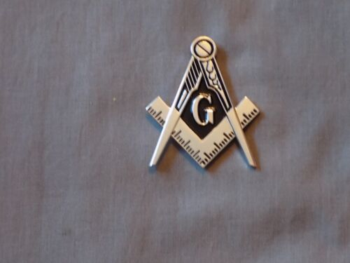"Masonic 2"" Car Emblem Master Mason Cut Out Square Compass Metal Fraternity NEW!"