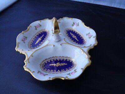 Anbietschale / Prunkschale mit 3 Fächern, Ornament Dekor, Pirkenhammer Porzellan