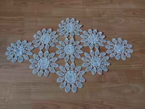 ANTIQUE Lovely Vintage Handmade Crochet Lace Tablecloth Runner Rhomboid White
