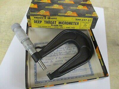 Brown Sharpe Deep Throat Metric Micrometer 0-25mm No. 599-237-10 New
