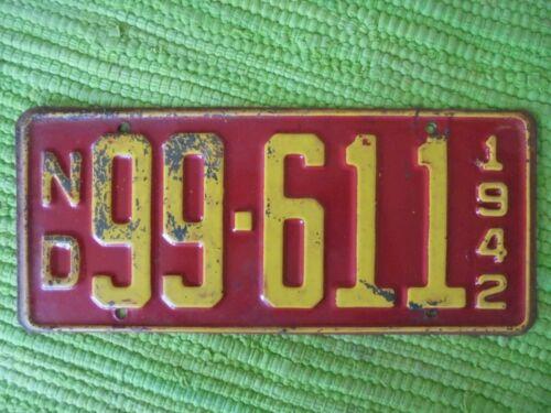 1942 North Dakota License Plate ND 42 Tag 99-611