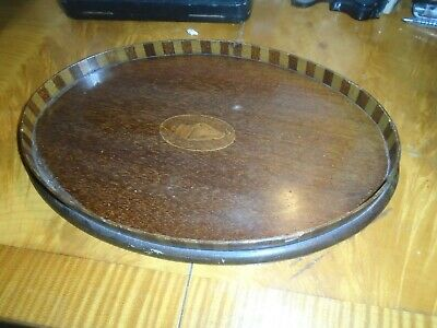 ANTIQUE,INLAID MAHOGANY SMALL,SERVING/DRINKS TRAY