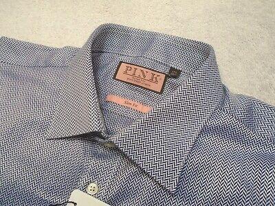 Thomas Pink Herringbone Cotton Barrel Cuff Dress Shirt NWT 17.5  x 36/37 $185