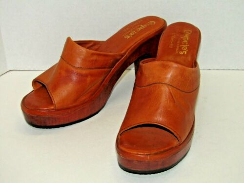 Vintage Capetos Chunky Camel Wooden & Leather Heel Shoes Made In Brazil Size 9B
