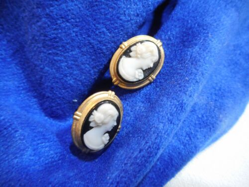 Vintage Cameo Earrings Black & White - Gold Tone Screwback Closure