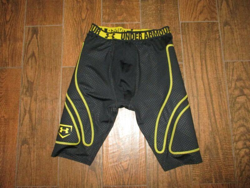 Men Under Armour Heat Gear Black/Yellow Baseball Padded Slider Sliding Shorts L