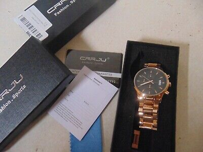 MENS WATCH BY CRRJU FASHION SPORTS ROSE GOLD CJ-2214RG STAINLESS WATER RESISTANT