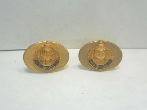 UNITED STATES STEEL CO. 35 YEARS EMPLOYEES, BLACK AND GOLD ENAMELED CUFF LINKS