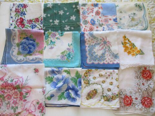 Vintage Floral Handkerchief Lot Various Sizes Flower and Leaf Designs 12 Hankies