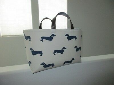 Dachshund Sausage Wiener Dog Large Canvas Navy Blue Beige Tote Totebag Purse NEW