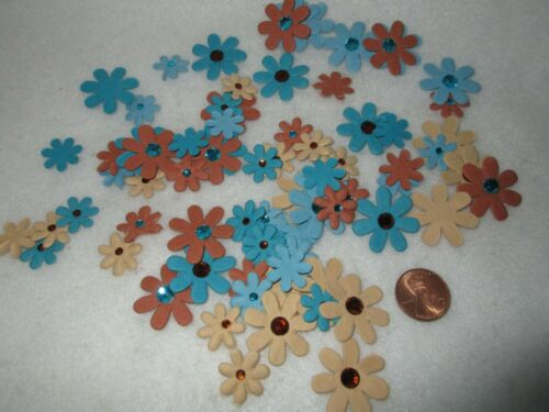 NEW Paper Flowers Rhinestone Centers Blue Brown Tan Colors