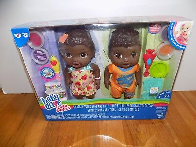 Baby Alive African American Super Snacks Snackin Twins Luke and Lily Dolls for sale  Gainesville