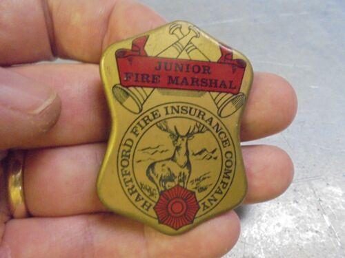 Vintage Hartford Fire Insurance Junior Fire Marshall Badge