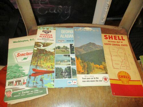 Lot of 5 vintage maps w/ gasoline logos - Shell, Sinclair, Texaco & Standard Oil