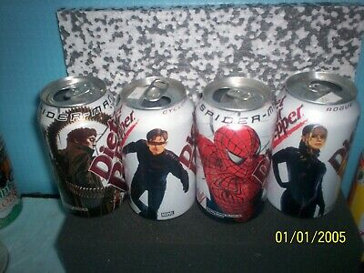 4 can set Diet Dr Pepper Spiderman soda cans