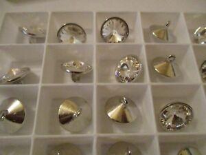 48 Fabulous Swarovski Crystal Buttons 13 mm Rhodium 1 Loop FULL BOX   m1430409