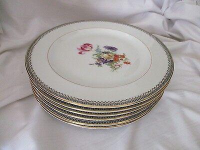 Black Rimmed Dinner Plate - Lexington 6 dinner plates Concord black Greek key gold rim floral center USA