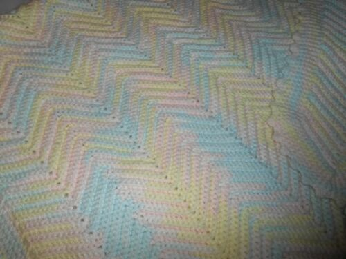 """Knit / Crochet Pale Pastels Baby Blanket / Afghan / Throw - 34"""" x 64"""" - VGUC"""