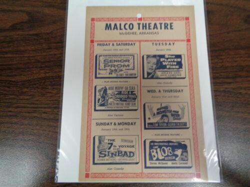 MALCO THEATRE VINTAGE MOVIE AD MCGHEE ARKANSAS SENIOR PROM / THE BLOB