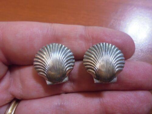 Vtg Sterling silver sea shell nonpierced screw back earrings 3.8 grams Beau