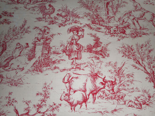 Vintage French Pastoral Farm Life Toile Cotton Fabric ~ Red White ~