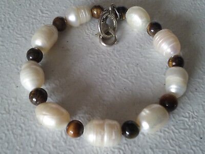 """HANDMADE SILVER PLATED FRESH WATER PEARL AND TIGERS EYE BRACELET 8"""""""
