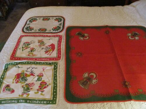 Vintage Lot 4 Swedish Christmas Table Cloth and Lapland Place Mats