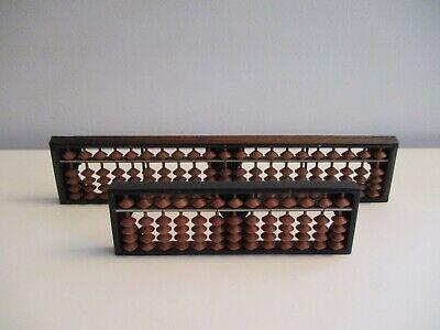 Vintage Japanese Soroban Abacus X2 13 Rod & 21 Rod Rosewood Math Calculator Nice