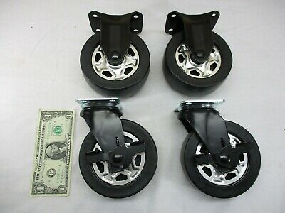 Industrial 5 Black Rubber Casters Cart Wheels Set Of 4 Swivel Brakes  New