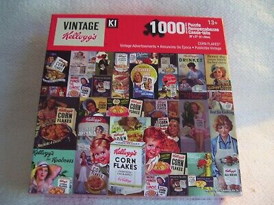 NEW Kelloggs Vintage Cereal Advertisements 1000 Piece Puzzle CORN FLAKES Sealed!