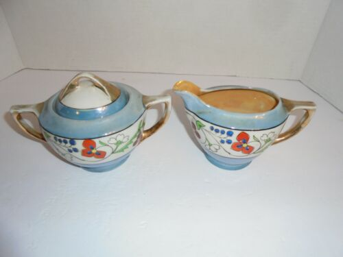 Japan Hand painted floral blue ~Gold trimmed~ Antique creamer and sugar bowl