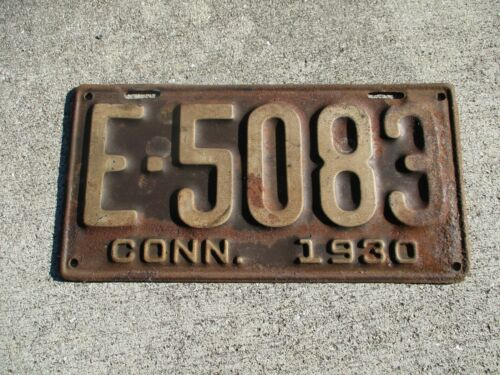 Connecticut 1930  license plate  # E - 5083