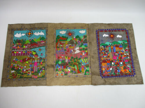 """set of 3 AMATE BARK PAINTINGS native ethnic mexican folk art wall deco 15"""""""