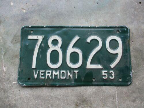 Vermont 1953 license plate #  78629