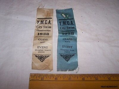 1938 YMCA CITY SWIM CHAMIONSHIP Ribbons