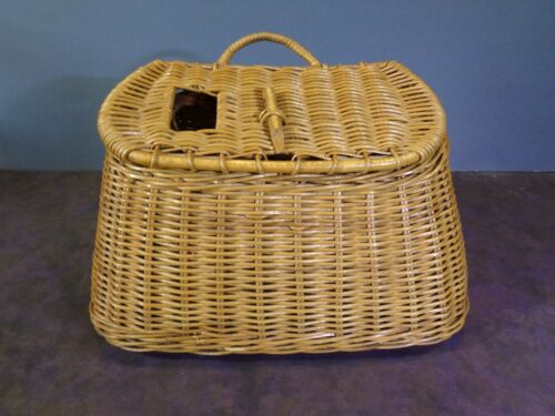 Vintage Wicker Woven Fishing Creel Basket With Strap