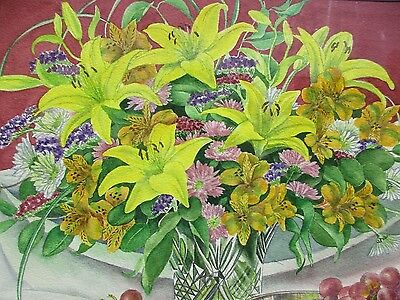 Картина Signed Elaine Mattmann Floral Watercolor