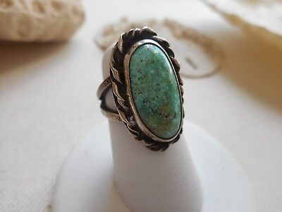 Vintage Southwest Dead Pawn Sterling Silver Turquoise Ring       219198